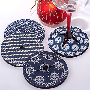 CloverLane Direct Table Coasters - Drink Coasters - Slip on Drink Coasters for Tabletop Protection - Wine Accessories - Farmhouse Coasters for Wooden Table - Nautical Decor - Wine Coaster