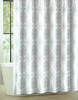 Tahari Home Luxurious Fabric Shower Curtain Milan Scroll Silver And White 72