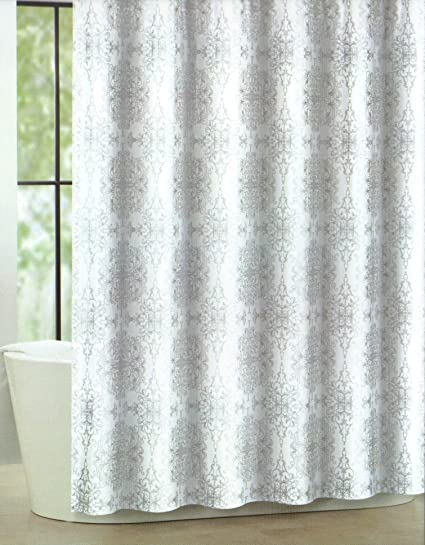Bon Tahari Home Luxurious Fabric Shower Curtain Milan Scroll  Silver And  White 72u0026quot;