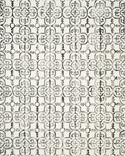 Safavieh Dip Dye Collection DDY711D Handmade Moroccan Geometric Watercolor Ivory and Charcoal Wool Area Rug 9' x 12'