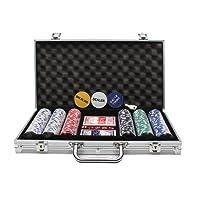 Display4top Super set da poker - 300 chip laser da 12 grammi con centro in metallo, 2 mazzi di carte, mazziere, piccoli ciechi, Grandi pulsanti ciechi e 5 dadi