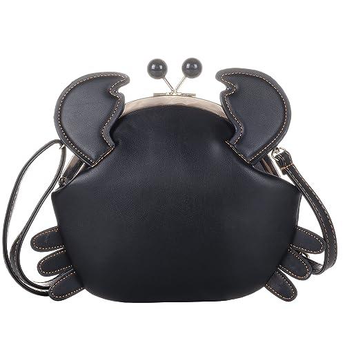 9c40752e1 QZUnique Women's PU Crab Clasp Closure Tote Handbag Cute Satchel Cross Body  Shoulder Bag