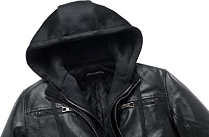 ZENTHACE Mens Full-Zip Faux Leather Hooded Motorcycle Jacket Outdoor Wear Coat