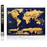 "Scratch Off Map of the World for Travelers - Elegant Gold Foil on Black Travel Tracker Map of the World Poster - Scratch Off Where You've Been - Deluxe Gift Edition Large 32""x 23"" with Tube Included"