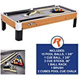 "Rally and Roar Tabletop Pool Table Set and Accessories, 40"" x 20"" x 9"" - Mini, Travel-Size Billiard Tables, Balls, Cues…"