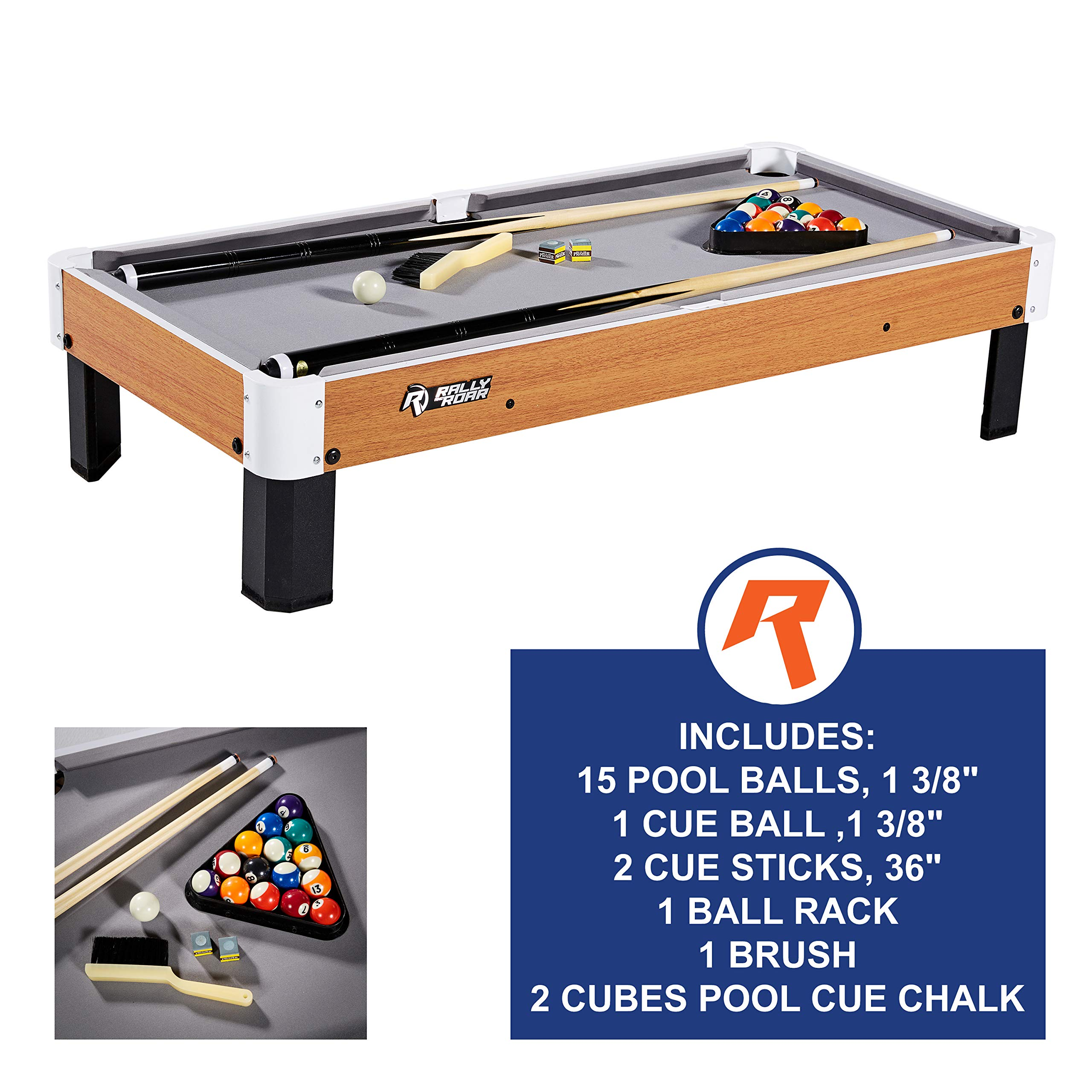 Rally and Roar Tabletop Pool Table Set and Accessories, 40'' x 20'' x 9'' - Mini, Travel-Size Billiard Tables, Balls, Cues, and Rack - Fun, Portable Family Games for Family, Parties, Camping, Road Trips by Rally and Roar