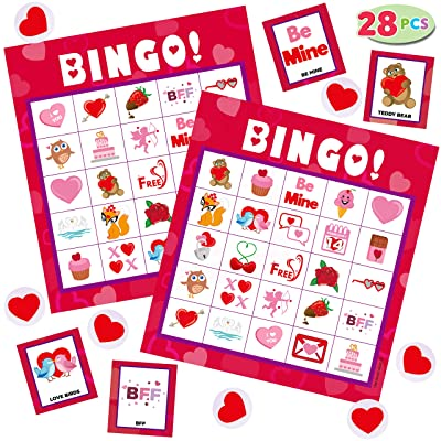 JOYIN Valentines Day Bingo Game Cards (5x5) – 28 Players for Kids Party Card Games, School Classroom Games, Love Party Favors Supplies, Family Activity: Toys & Games
