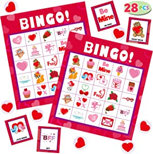 JOYIN Valentines Day Bingo Game Cards (5x5) – 28 Players for Kids Party Card Games, School Classroom Games, Love Party Favors Supplies, Family Activity