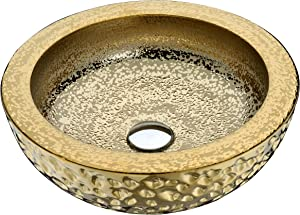 ANZZI Regalla Modern Tempered Glass Vessel Bowl Sink in Speckled Gold | Gold Top Mount Bathroom Sinks Above Counter | Round Vanity Countertop Sink Bowl with Pop Up Drain | LS-AZ179