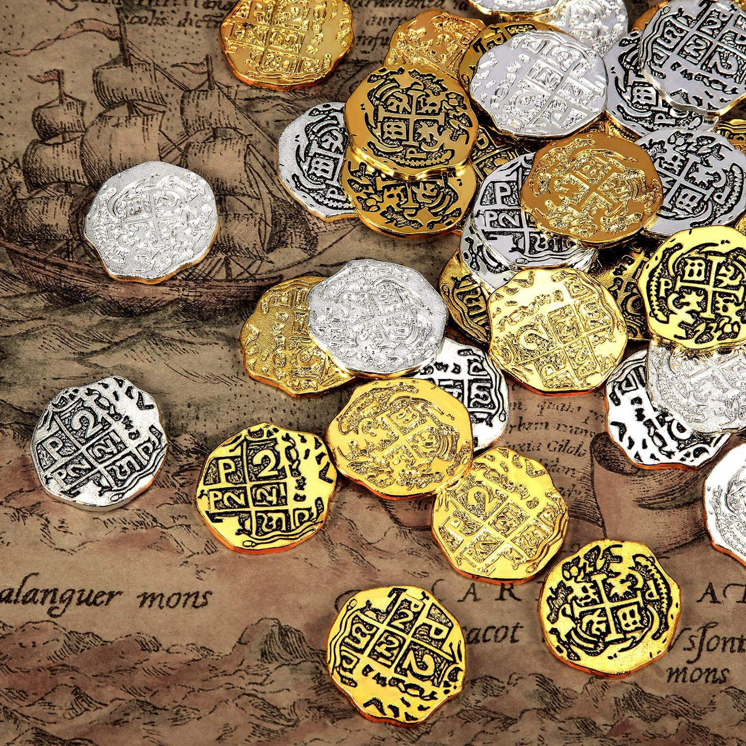 Hicarer Metal Pirate Coins Spanish Doubloon Replicas Pirate Treasure Coin Toys for Party Favor Decorations (Color Set 1, 60 Pieces)