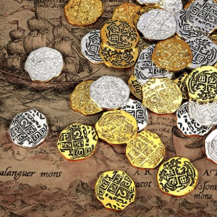 For Fun Fantasy Pirate Treasure Metal Pirate Coins 50 Spanish Doubloon Replicas