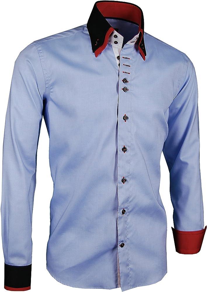 Giorgio Capone - Camisa Casual - para Hombre Blau - Schwarz - Rot Medium Delgado/Normal: Amazon.es: Ropa y accesorios