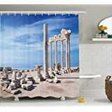 Ambesonne Home Decor Collection, Ancient Greek Temple with Clouds Greek Mythical Gods Ruins Europian Heritage Decorative, Polyester Fabric Bathroom Shower Curtain Set with Hooks, Cream Blue