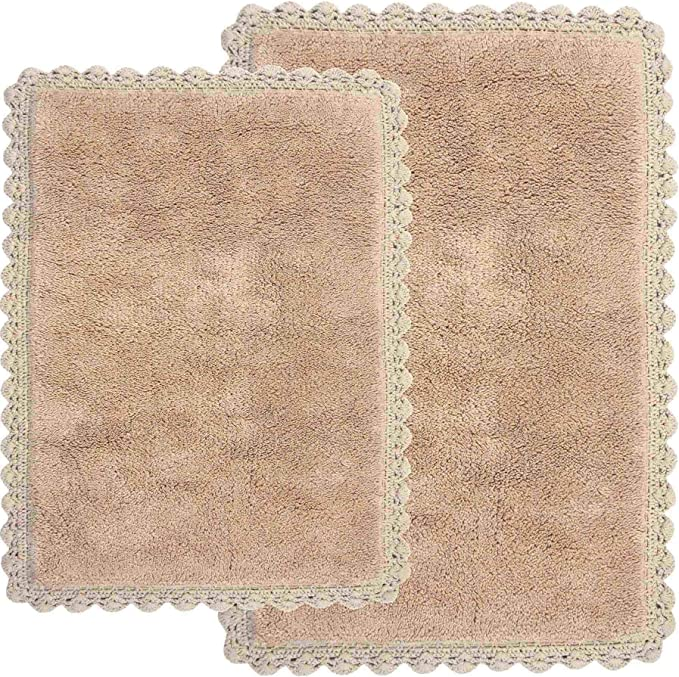 Crochet 2 Piece Bath Rug Set 21 By 34 Inch And 17 By 24 Inch Linen Home Kitchen Amazon Com
