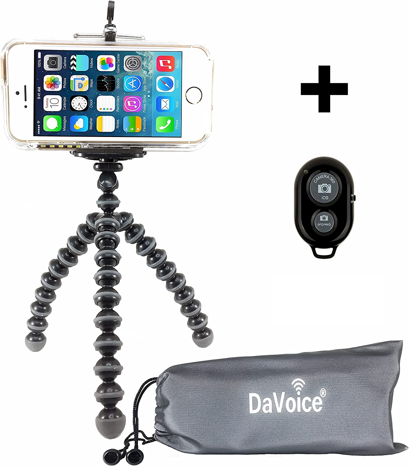 DaVoice Cell Phone Tripod Mount Adapter Holder Bluetooth Remote Control Carry Bag Compatible with iPhone X XS Max XR Se 8 7 6 6s Plus Samsung Galaxy S9 S8 S7 S6 Edge Bracket Attachment Hot Pink