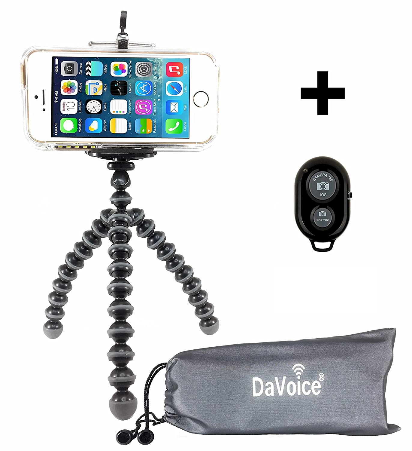Flexible Tripod - Cell Phone Tripod Adapter - Bluetooth Remote Control - Travel Bag - iPhone 7 6 6S SE 5 5s 5c 4s 4, Samsung Galaxy S7 S6 S5 S4 S3 S2 - DaVoice (Black/Gray) 4326571920