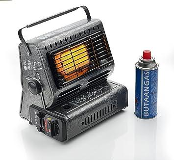 Estufa portátil con 4 gas cartucho Calefacción Potencia es con un botón giratorio ajustable: Amazon.es: Deportes y aire libre