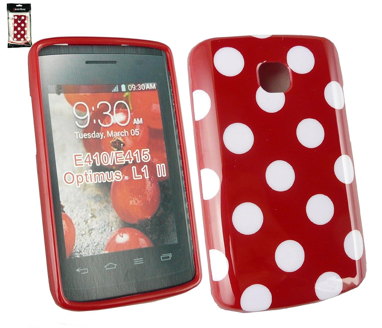 Emartbuy Lg Optimus L1 Ii E410 Polka Dots Gel Skin Cover Case Red White Electronics