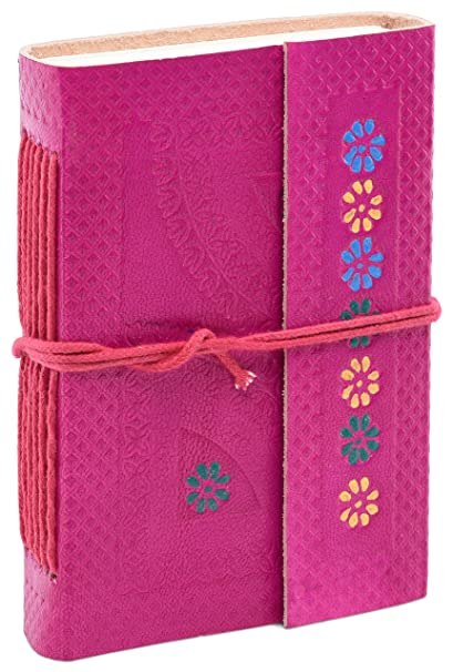INDIARY Leather Journal Notebook Diary for Girls 13 x 9.5 cm Handmade Paper - Flower - Pink