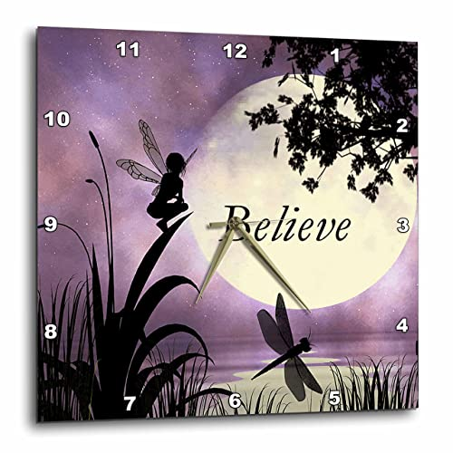 3dRose LLC DPP_35696_3 Wall Clock, 15 by 15-Inch, Believe, Fairy with Dragonflies with Moon and Purple Sky