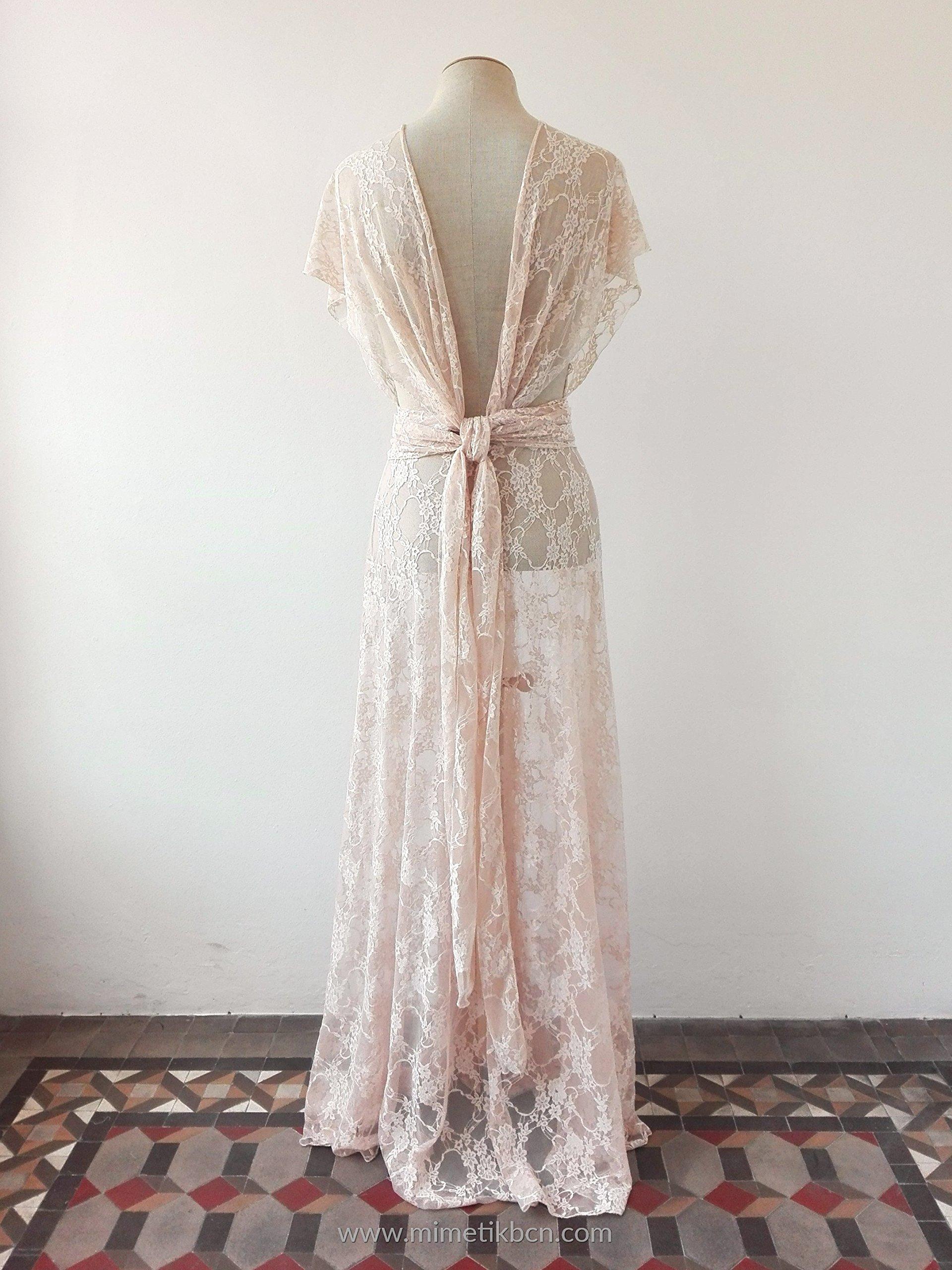 Bohemian separates, lace cover wedding dress, rose quartz lace dress, unlined lace dress, bridal separates, lace overdress wedding, lace dress