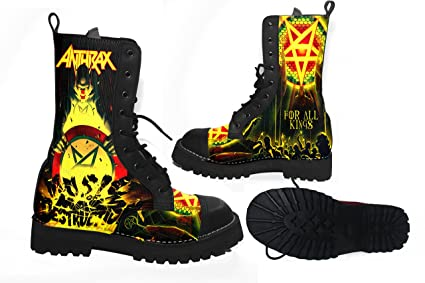 5081a1824cc amazon com anthrax heavy metal band fans custom man boots shoes Heavy Metal  Starter Pack anthrax