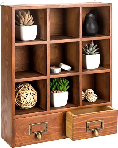 MyGift 16.5 inch Vintage Freestanding Wooden Display Shelve