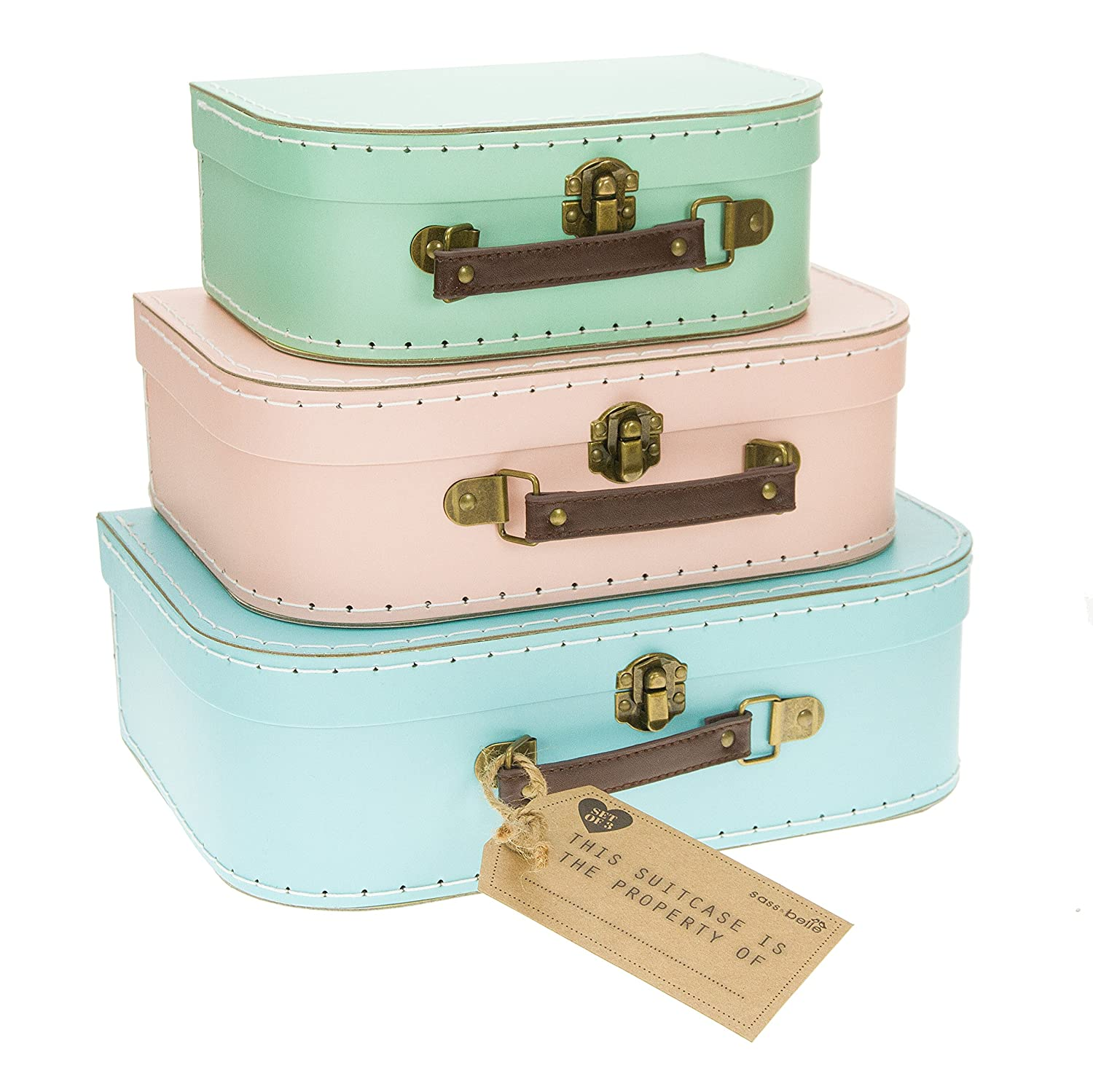 Set of 3 Pastel Coloured Blue Green Pink Retro Suitcases Storage Boxes Sass & Belle GIF