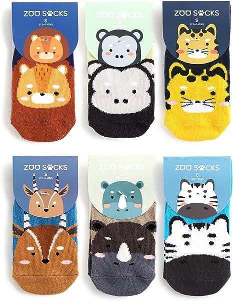 Baby Boys Fun Zoo Animals cotton socks Pack of 6 Pairs 3 sizes