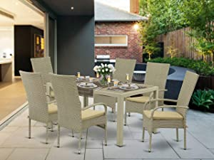 East West Furniture JUOS703A 7Pc Outdoor Natural Color Wicker Dining Set Includes a Patio Table and 6 Balcony Backyard Armchair with Linen Fabric Cushion