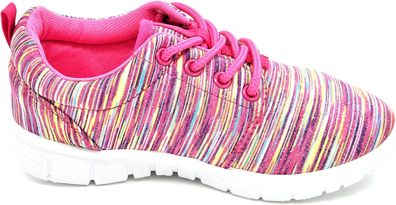 Urban Jacks Girls//Childs Relay Pink Stripped Glitter Trainer Jogger Lace up Casual Shoe Sizes 8,9,10,11,12,13,1,2