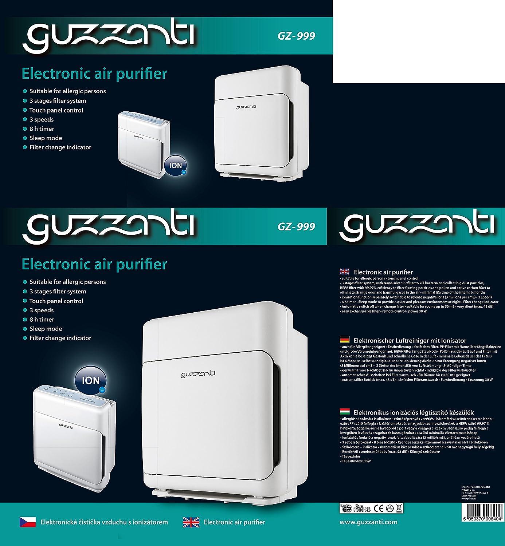 Guzzanti GZ 999 Purificador de Aire Electrónico con Ionizador, 30 ...