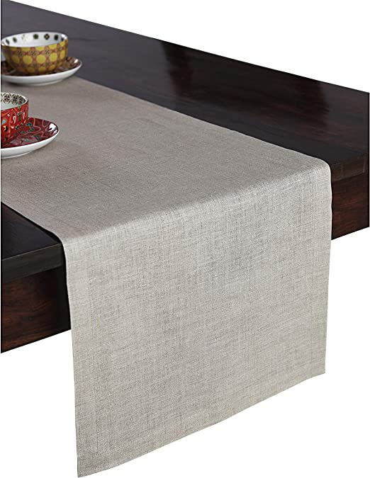 Solino Home Hemstitch Linen Table Runner Handcrafted from Europe 14 x 72 Inch
