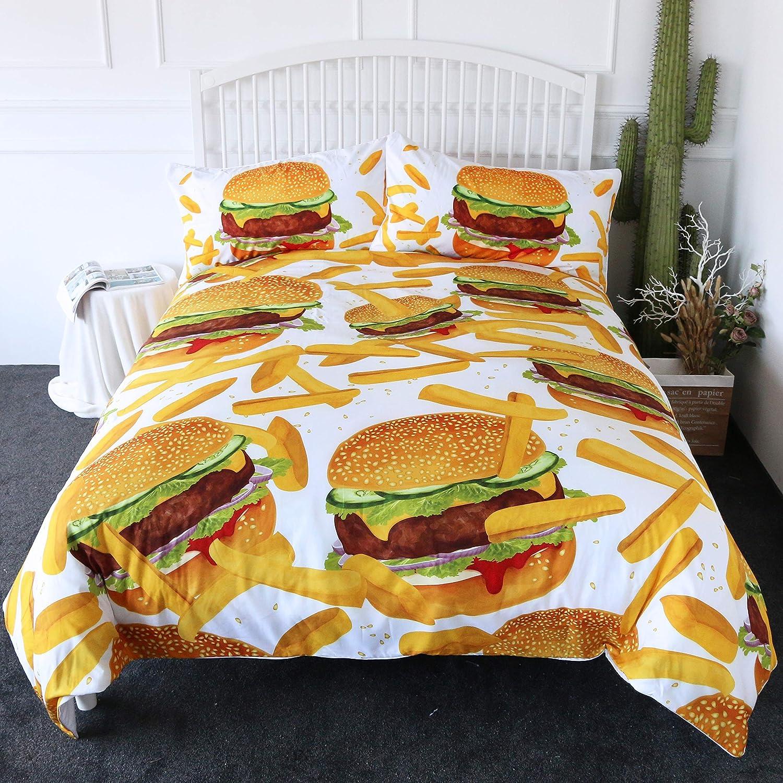 ARIGHTEX Hamburger Fries Bedding 3D Giant Burger Duvet Cover Set 3 Pieces Fun Fast Food Creative Bedspreads (Full)