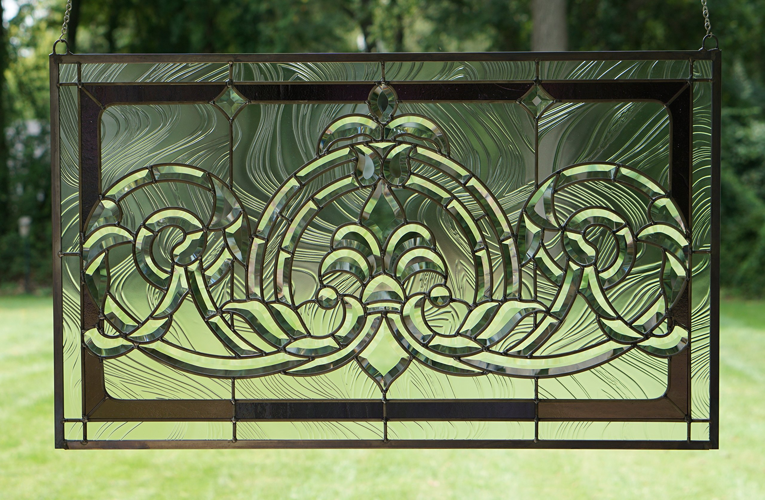 Tiffany Style stained glass Clear Beveled window panel 34.5''W x 20.5''H