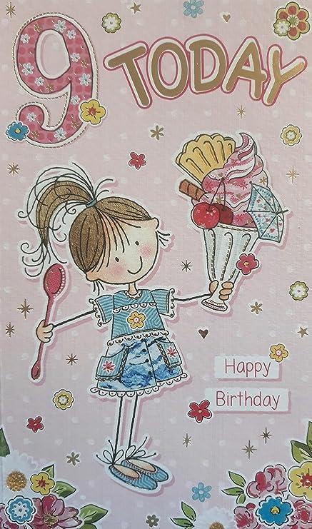 9 Hoy, feliz cumpleaños. Tarjeta de felicitación con ...