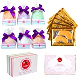 6 Large Bath Bombs Gift Set - 6 Anti-Wrinkle Eye Masks for Puffy Eyes/Dark Circles - USA Made No Stain Fizzies - Lush Natural Relaxation Gifts for Women, Mom, Birthday, Bridesmaids, Christmas