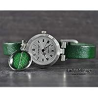 Armbanduhr mit echtem Blatt Grün Leder Damenuhr Silber Lederarmband