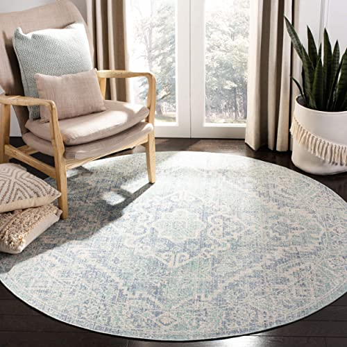 Safavieh Windsor Collection Premium Wool Round Area Rug, 6 Diameter, Seafoam Blue