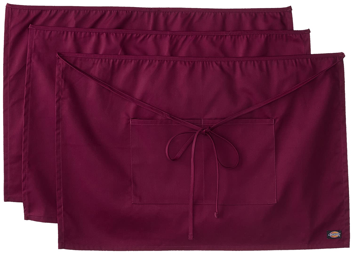 Dickies Chef  3 Pack Half Waist Bistro Apron Burgundy One Size Dickies Chef Women' s Uniforms DC507BURG