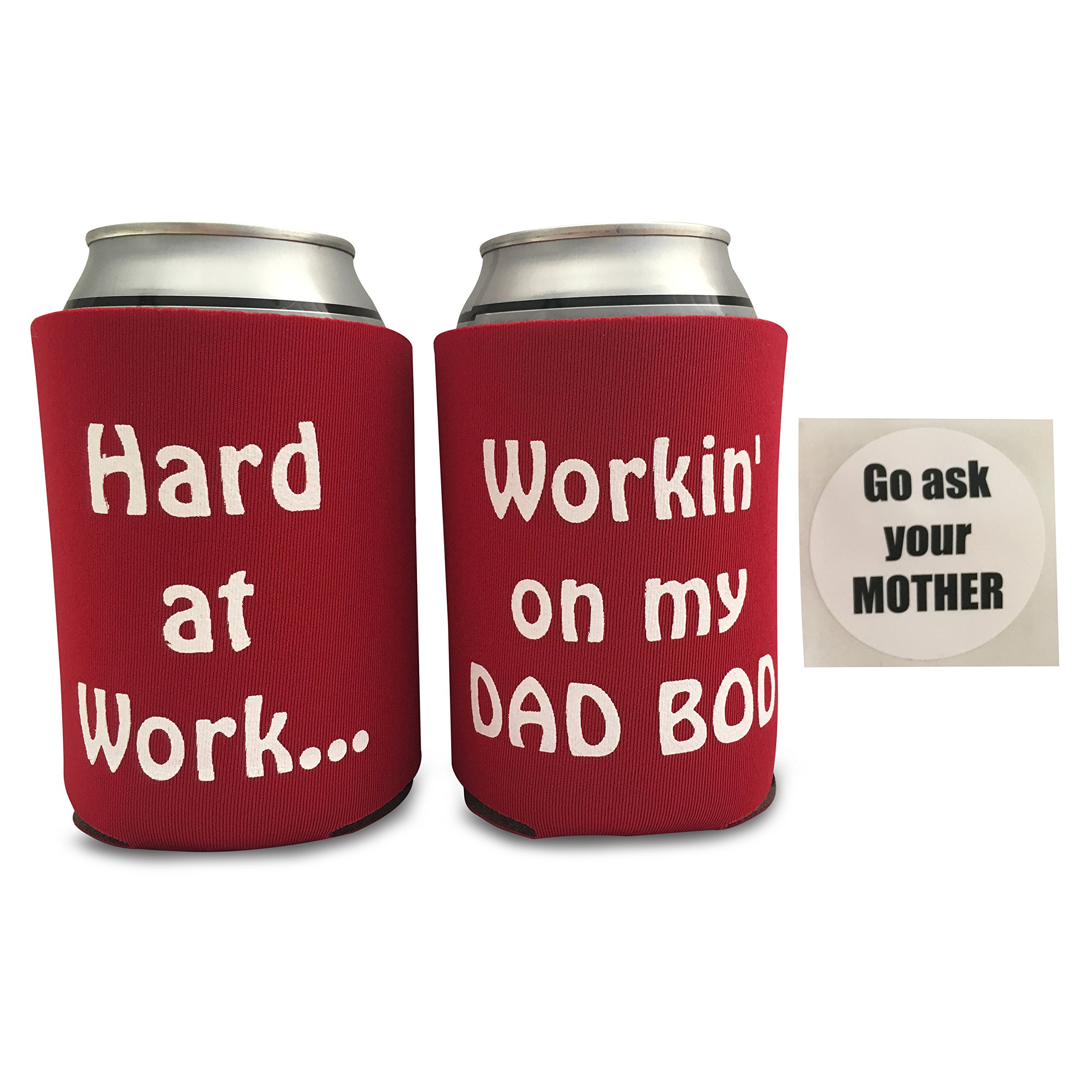 Father's Day Gift from Daughter Funny Coolie Bundle | Hard at Work Workin' on my Dad Bod (Red)