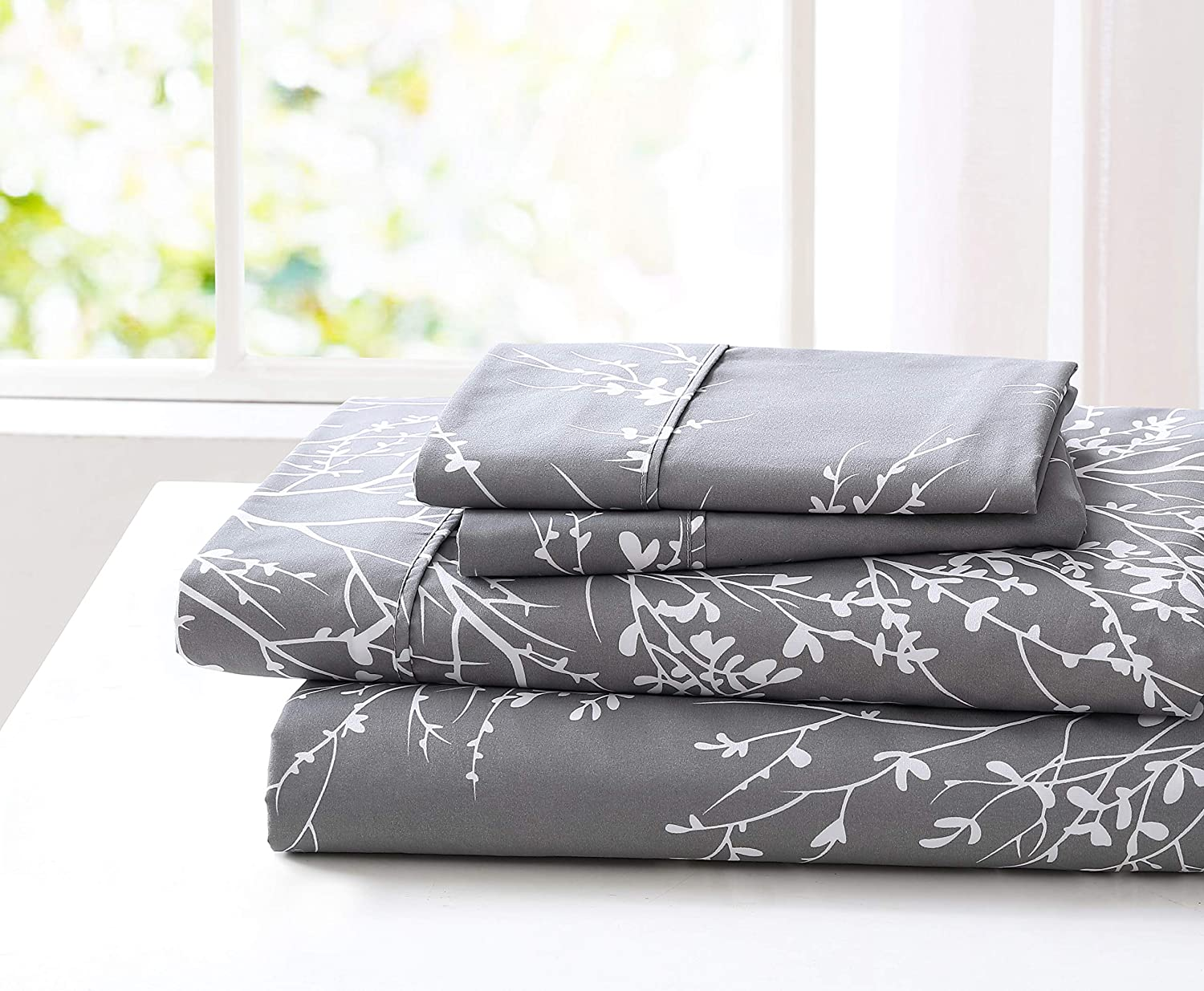 SL SPIRIT LINEN HOME Foliage Collection Bed Sheet Set- Ultra Soft, Lightweight & Breathable Fabrics, Double Brushed Microfiber for Added Softness, Queen, Grey White