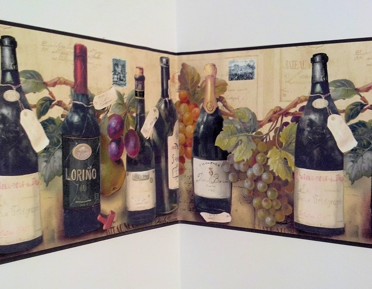 Wine and Grapes Wallpaper Border By Village - Kitchen Boarders ...