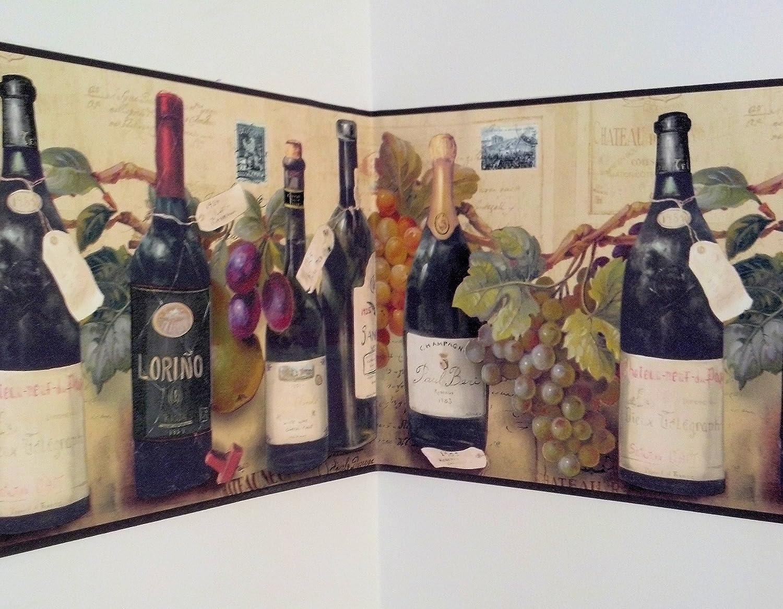 Wine And Grapes Wallpaper Border By Village   Kitchen Boarders   Amazon.com