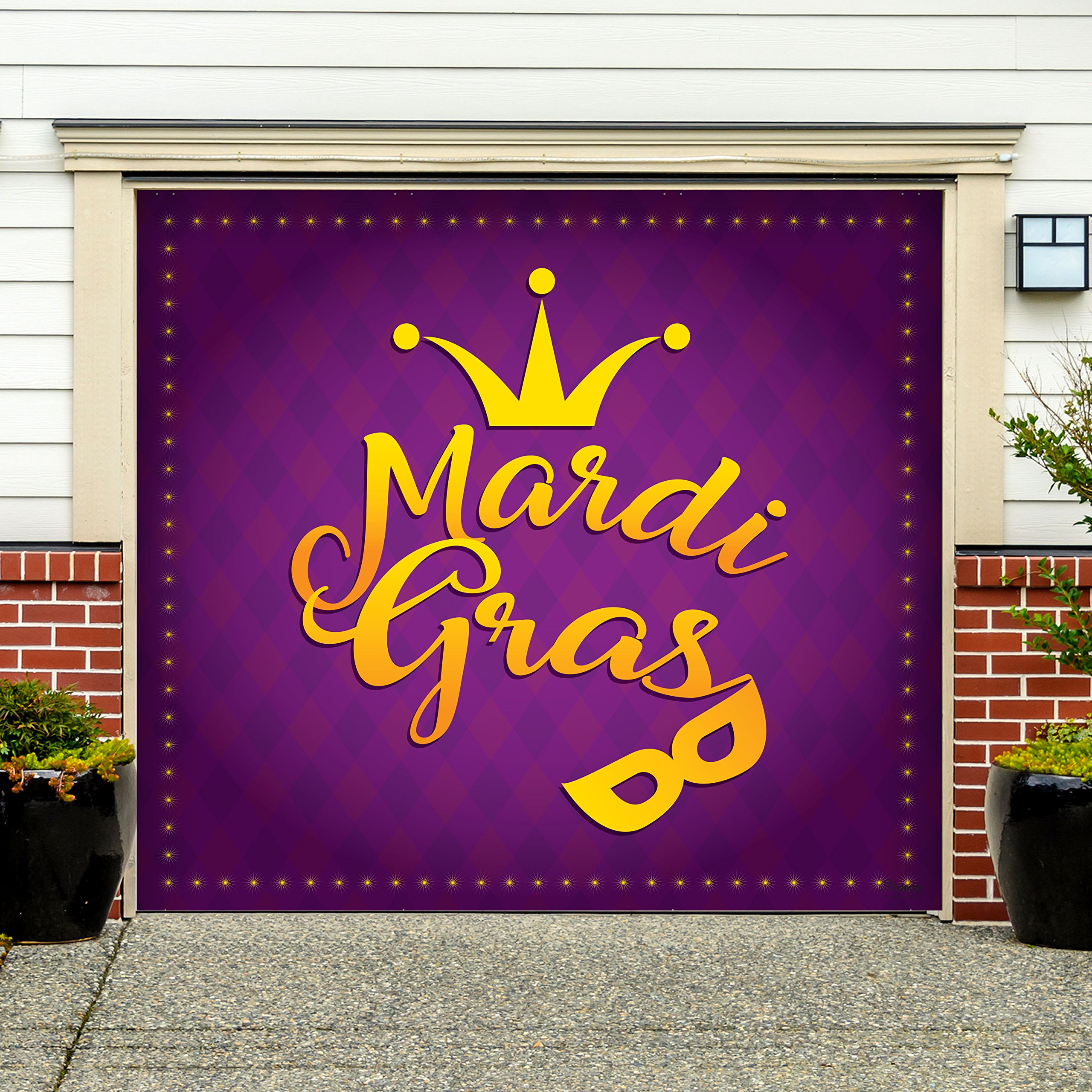 Outdoor Mardi Gras Decorations Garage Door Banner Cover Mural Décoration 7'x8' - Mardi Gras Crown and Mask - ''The Original Mardi Gras Supplies Holiday Garage Door Banner Decor''