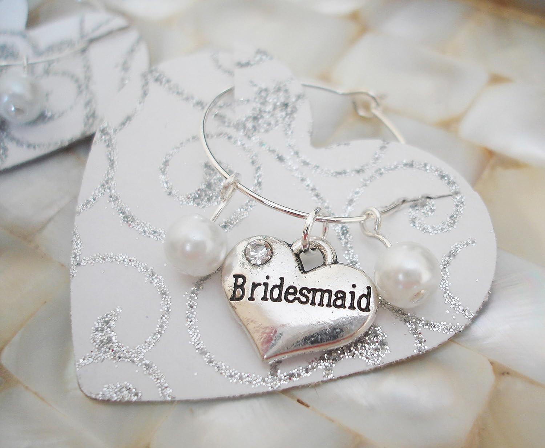 Amazon.com: Bridesmaid Wine Charms, Bridesmaid Favors, Wine Tags ...