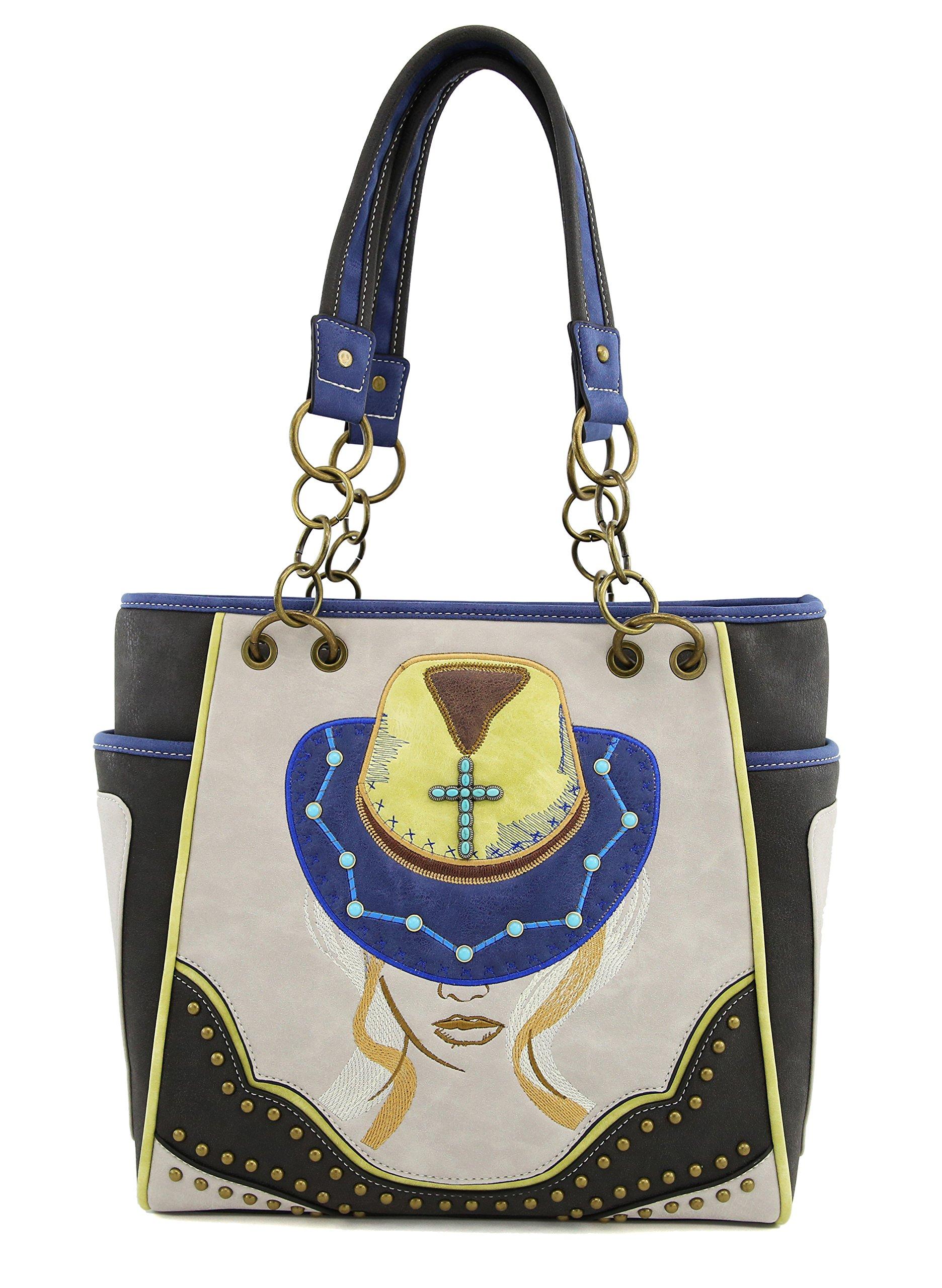 Tote Bag ANGIE & ALLIE Western Shoulder Bag Cowgirl Rhinestore Studded with Backside Concealed Saddle Pocket Waterproof Cowgirl Handbag (Black)