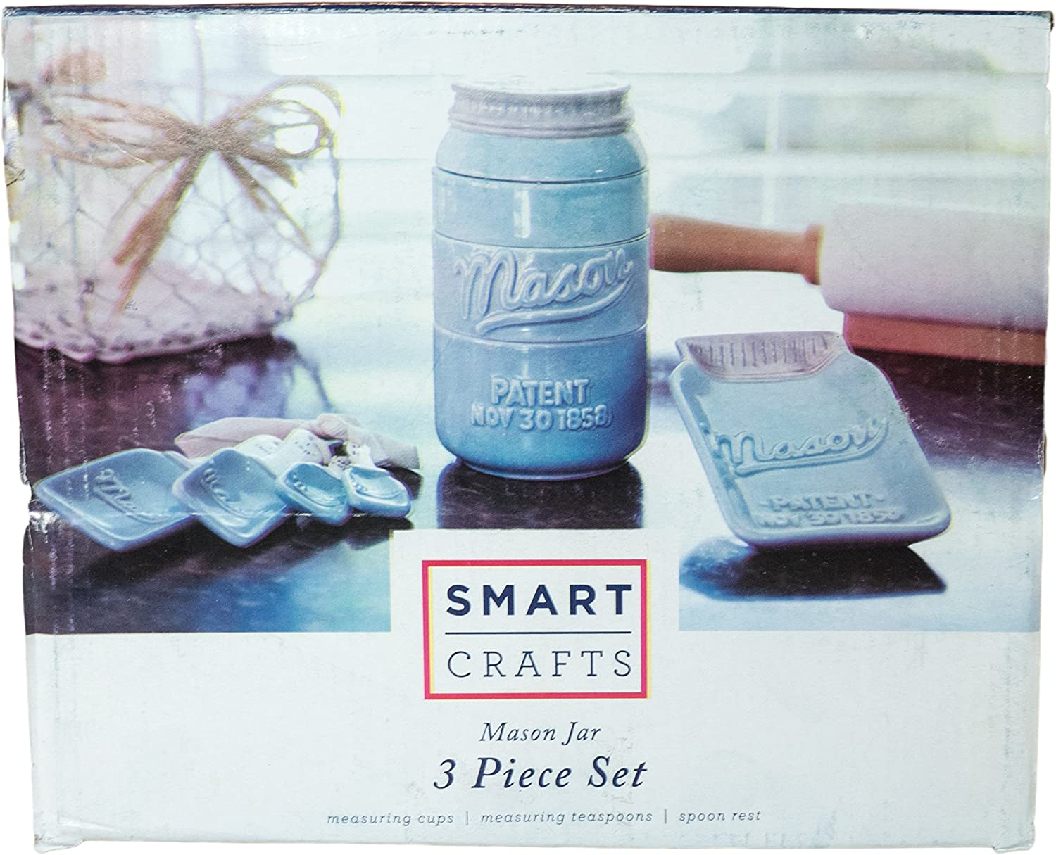 NEW This Set Includes Stackable Measuring Cups Measuring Spoons and Spoon Rest! Blue Mason Jar Ceramic Kitchenware 3 Piece Set