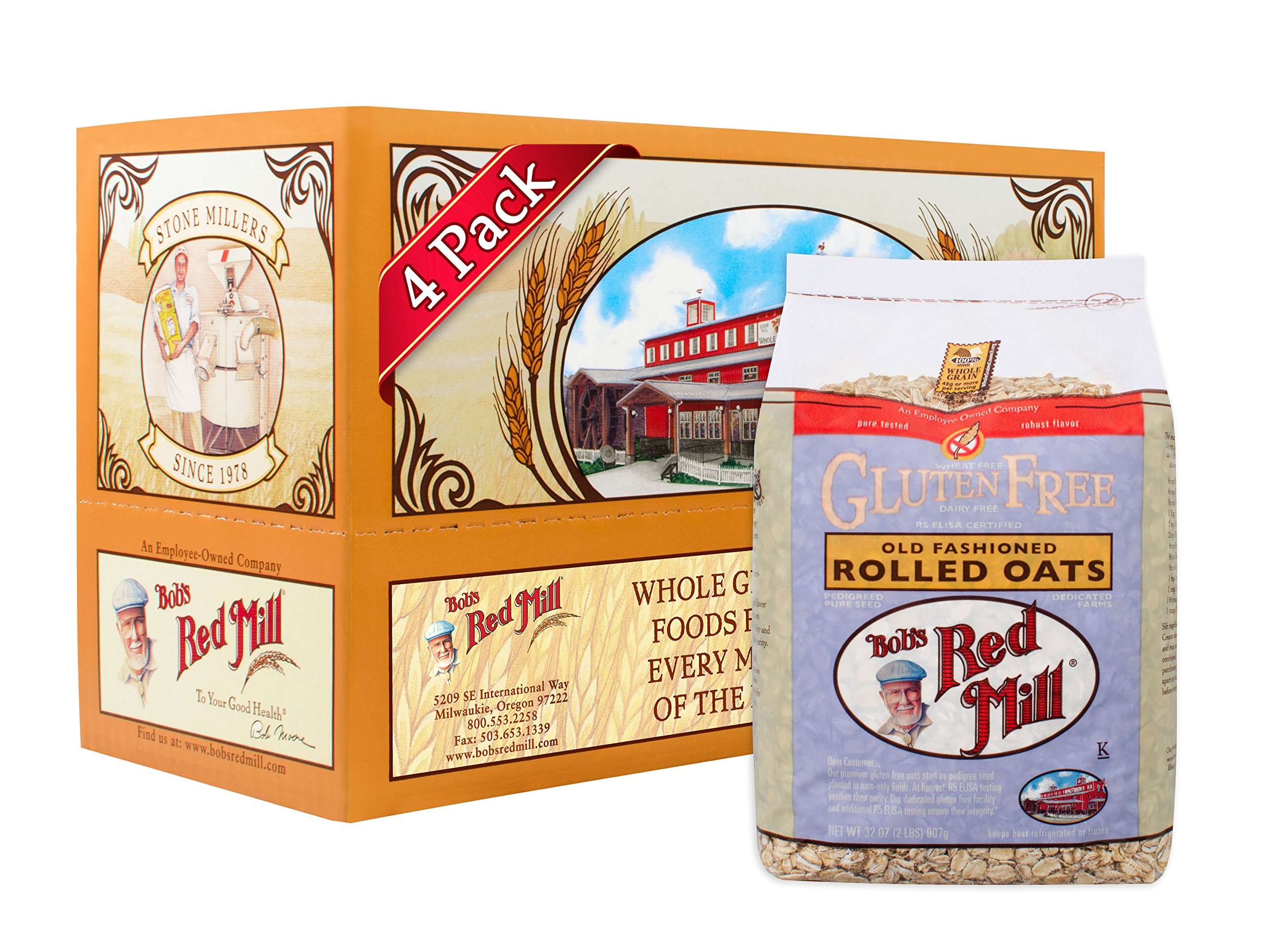 Bob's Red Mill Gluten Free Old Fashioned Rolled Oats, 32 Ounce (Pack of 4) by Bob's Red Mill
