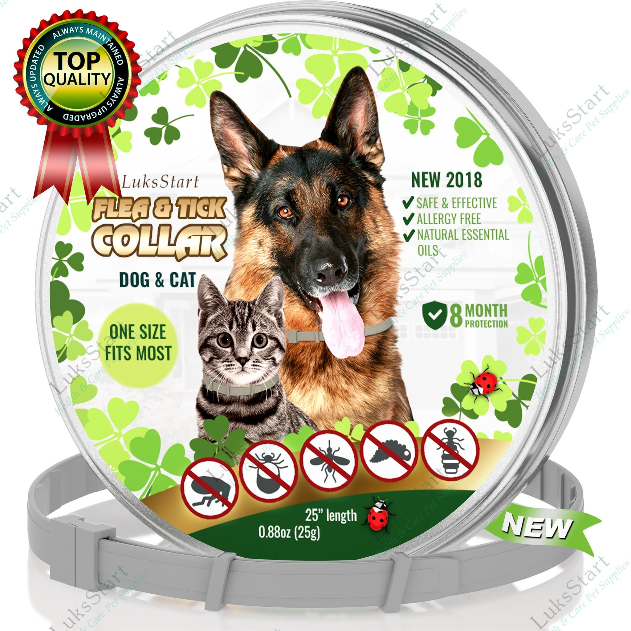 LuksStart Best Natural Pest Control Collar for Dogs & Cats: Hypoallergenic Waterproof Protection, Long Lasting Flea and Tick Prevention, Fully Adjustable one Size Fits All! (Natural Pest Control)
